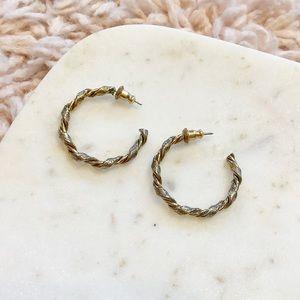 Vintage Gold Twisted Hoop Earrings